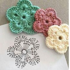 Crochet Motif Patterns, Crochet Diagram, Crochet Designs, Crochet Cross, Love Crochet, Easy Crochet, Crochet Flower Tutorial, Crochet Instructions, Crochet Butterfly