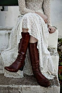 winter bride in lace and boots