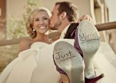 just married on shoes