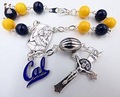 Single Decade St. Christopher Sports Team Auto Rosary - University of California Bears NCAA Catholic Rosary Beads - Wedding bracelets (*Amazon Partner-Link)