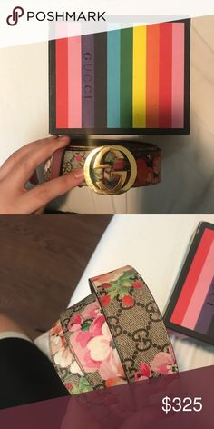 46aeb757b Gucci GG Blossom Belt Amazing belt with hand painted edges and blossom  print. Gucci Accessories