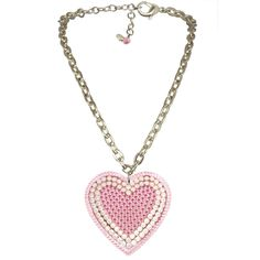 """Tarina Tarantino Iconic """"BIG LOVE"""" PAVE' HEART NECKLACE- Rose / Lt. Rose ICONIC """"Big Love"""" necklace, this 16"""" adjustable chain necklace with 2.5"""" diameter Lucite heart pendant embellished in a dazzling configuration of hand set Swarovski crystal. Chain is silver plated brass with lobster clasp closure."""