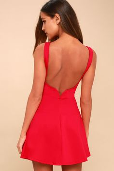 53bb4249d2 Special Kind of Love Red Backless Skater Dress 4 Red Bodycon Dress