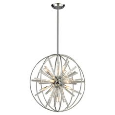 Striated glass rods adorn this vivacious pendant, featuring a radiating design for a pop of panache.  Product: Pendant