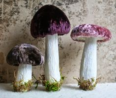 Hand Dyed Silk Velvet - Handmade Woodland Forest Mushrooms #WoodlandChristmas Wine and Chocolate