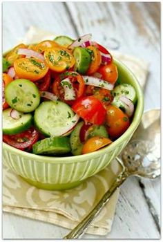 22 Refreshing and Delicious Cucumber Salads: Tomato Cucumber Salad with sweet onion, fresh dill