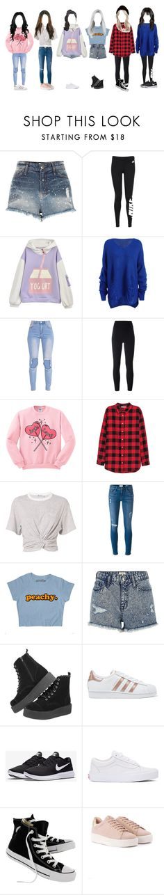 """┇ DANCE PRACTICE ┇ CRAZY + COME OUT"" by dreamcatcher-official ❤ liked on Polyvore featuring River Island, NIKE, adidas Originals, H&M, T By Alexander Wang, Frame, Vans and Converse"
