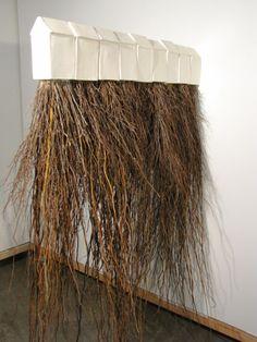 """Marianne McGrath """"Roots"""" 2010 earthenware and tree roots escultura casa mimbre Contemporary Ceramics, Contemporary Art, Art Conceptual, Ceramic Houses, Clay Houses, T Art, A Level Art, Earthenware, Installation Art"""