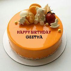 Orange Fruit Birthday Cake With Kid Name Cartoon Strawberry