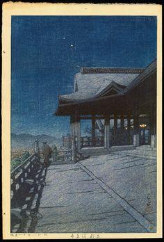 Kawase Hasui, Night Scene from Kiyomizu Temple, Kyoto, 1933 Japanese Textiles, Japanese Prints, Kiyomizu Temple, Japanese Art Modern, Art Japonais, Snow Scenes, Art Graphique, Japan Art, Woodblock Print