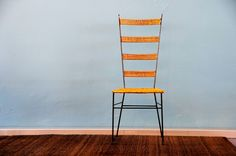 metal high back chair with wicker seat - available as a pair