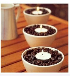 Coffee Bean and Candle Infusers......Fill small ceramic bowls with whole coffee beans and place a tea light candle in the centre. The heat from the lit candle will warm the beans and infuse the air with a gentle coffee smell.  Treat!