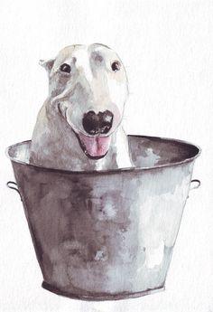 Original dog painting art bull terrier in metal bucket by HelgaMcL