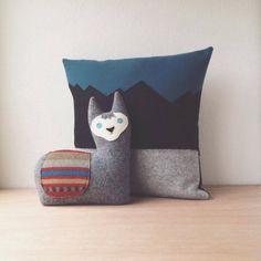 the Alpaca  wool alpaca pillow / llama plush door ThreeBadSeeds