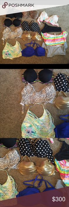 Victoria's Secret Bikini Top Lot Will sell separately. Let me know what you what so I can create a separate listing. All tops were barely worn. Had baby, breastfeed and now they don't fit :( Tan/Neon Bralette M, Black 1 Shoulder M, Blk/White Stripe Crop L, Neon Stripe Crop L, Cheetah Strapless Padded 36D, Polka Dot 34DD, Gold Halter Padded 36D, Blue Halter Padded 36D, Black Halter Padded 36D, Neon Stripe/Black Padded 36D, Walter Color Halter M, and Cheetah Bralette M. 1 for $30, 2-4…