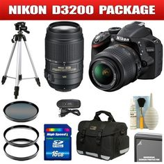 Nikon D3200 24.2MP Digital SLR Camera (Black) with 18-55mm f/3.5-5.6G AF-S DX VR Nikkor Zoom Lens + AF-S DX NIKKOR 55-300mm f/4.5-5.6G ED VR Package 26 by Nikon. $890.08. Take your photos and videos to the next level. Unrivaled 24.2 megapixel DX-format CMOS sensor for truly dazzling photos and Full HD 1080p movies in any light. Innovative Guide Mode to help you master the camera. HD-SLR power; point-and-shoot ease.Don't let the D3200's compact size and price fool you-packed i...