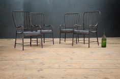 USA, 1880s, Vintage Early Industrial Pilgrim State Insane Asylum Chairs. Heavy, Solid Old Iron Construction. Worn Black Finish. Very Unique ... factory20.com