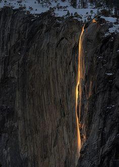 Horsetail Falls in Yosemite Valley, California