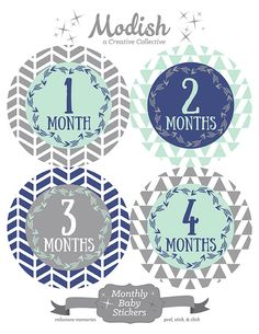 FREE GIFT, Monthly Baby Stickers Boy, Baby Month Stickers Boy, Baby Belly Stickers, Tribal, Herringbone, Arrows, Navy Blue, Mint, Gray