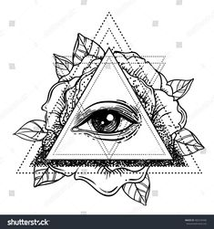 All seeing eye pyramid symbol with rose flower. vector illustration isolated on white. Print, posters, t-shirts and textiles. Rose Tattoos, Body Art Tattoos, Hand Tattoos, Sleeve Tattoos, Tatoos, Pyramid Tattoo, All Seeing Eye Tattoo, Skull Hand Tattoo, Ink Art