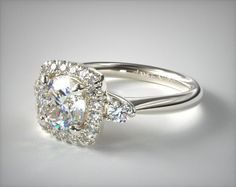 14K White Gold Sidestone Halo Diamond Engagement Ring Awesome detailing on the sides