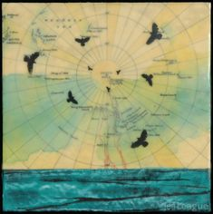 Birds in sky over antique map, mixed media encaustic painting with photography.
