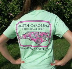 Southern Couture North Carolina Mint Green Paisley State T-Shirt - Preppy Style #CoutureTeeCompany #GraphicTee