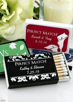 Personalized matchbooks....super cute memento! (Avail @ David's Bridal) ♥