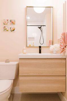 Samantha Gluck's Bright, Minimal Scandi-Inspired House Tour Paint is Benjamin Moore Sheer Pink 894 Ikea Bathroom, Bathroom Furniture, Small Bathroom, Bathroom Fixtures, Bathroom Ideas, Bird Bathroom, White Bathrooms, Bathroom Plants, Bathroom Inspo