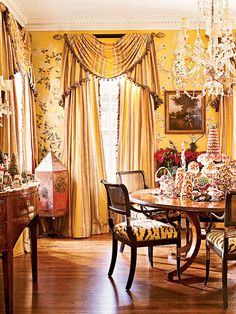 gracie wallpaper dining rooms | Yellow Gracie wallpaper and tiger-patterned upholstery become a ...