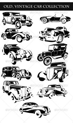 Buy Old Vintage Cars Collection by raduborzea on GraphicRiver. Set of 11 old-vintage cars vectors on white background Old Vintage Cars, Vintage Ads, Ad Car, Car Vector, Car Repair Service, Mercedes Car, Diesel Cars, Motorcycle Design, Car Drawings