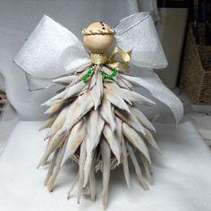 Hawaiian Dried Protea Flower Angel Ornament: