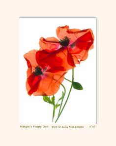 20 Percent Off Sale Handmade Cards Margie's Poppy Duo by GreenInkGallery, $4.99