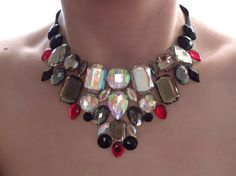 Rhinestone Bib Necklace, Gray Necklace, Statement, Jeweled, Burlesque Jewelry, Black, Red, Crystal AB