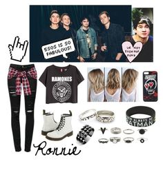 """""""Ronnie (concert outfit)"""" by noelleisnotonfire on Polyvore featuring Frame Denim, Dr. Martens and Waterford"""