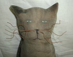 Handmade Primitive Sneaky Black Big Cat Doll by MaryMQuiteContrary, $15.00