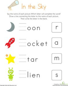 Worksheets: Write the Missing Letter: In the Sky These celestial words are all missing their first letter! Kids completing this kindergarten reading worksheet write the correct letter to complete each word. Free Kindergarten Worksheets, Phonics Worksheets, Reading Worksheets, Free Printable Worksheets, Kindergarten Writing, Free Printables, Space Printables, Phonics Rules, Space Preschool