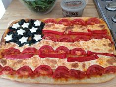 cute 4th of july activity! Pizza Flag with fresh mozzarella stars and stripes.
