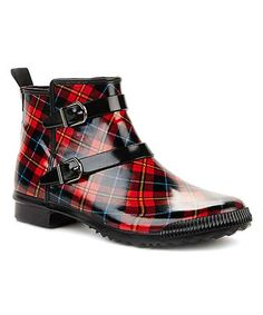 Look at this Red Tartan Royale Ankle Rain Boot - Adult Mode Tartan, Tartan Plaid, Tartan Shoes, Shoe Boots, Ankle Boots, Men's Boots, Tartan Fashion, Mode Shoes, Red And Black Plaid