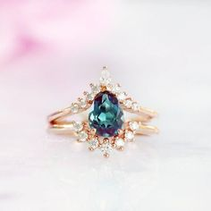 Promise Ring Color Changing Stone Gift For Her June Birthstone Engagement Ring 14K Rose Gold Vermeil Ring Teardrop Alexandrite Ring