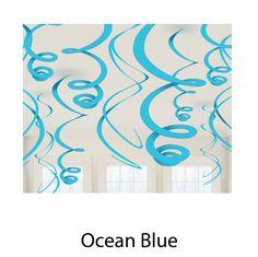 plastic swirl decorations #party #blue