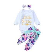 6d446f0209e Mornbaby Baby Girl Little Sister Newborn Outfit Long Sleeve Romper Floral  Pants Headbow Clothes Set Floral