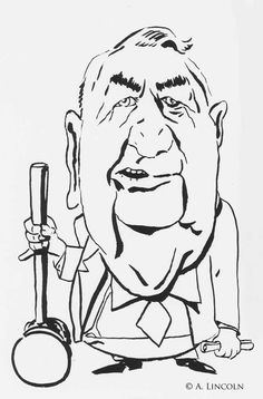 Caricature of Senator Sam Irwin who chaired the Watergate committee. I really liked this old man.