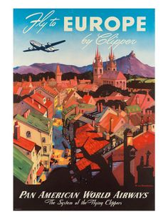 Vintage Travel Poster - Europe - Airline #travel #Europe