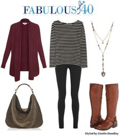 Stripes+ Leggings and an oxblood sweater and boots- Fab for fall.