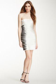 BCBGMAXAZRIA Contrast Layered Two-Tone Dress by Non Specific