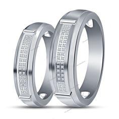 0.80 CT Round Diamond His Her 14K White Gold Finish Couple Wedding Band Ring Set #tvsjewelery #WeddingBandRing #EngagementWeddingAnniversaryPromiseValentines