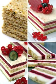 """MMmmm.  """"This gateau, with pistachio joconde layers soaked with lemon simple syrup, jellyfied raspberry coulis and vanilla bavarian cream, holds true to its name, Delice D'Ete (Summer Treat)."""""""