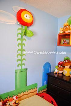 Decorating a Game Room Super Mario Nursery, Super Mario Room, Nerd Room, Gamer Room, Nintendo Room, Nintendo Decor, Boy Room, Kids Room, Ideas Habitaciones