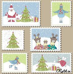 Новогодние и Рождественские марки, поздравительные открытки. Winter grade